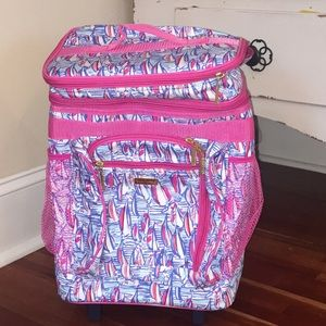 Lilly Pulitzer rolling cooler in red right return